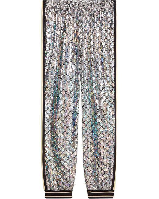 Gucci GG Glanzende joggingbroek in het Metallic voor heren