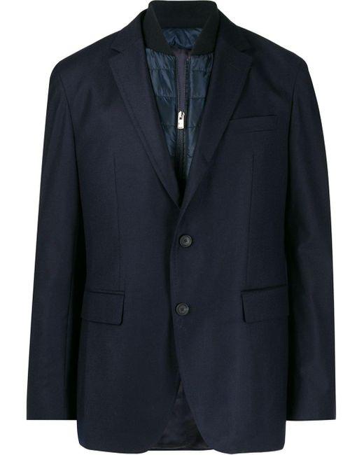 メンズ BOSS レイヤード パデッドジャケット Blue