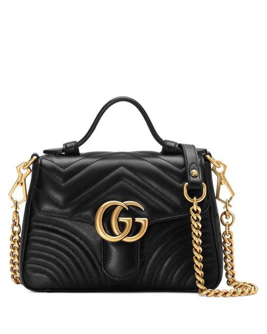 Gucci 【公式】 (グッチ)〔GGマーモント〕ミニ トップハンドルバッグブラック シェブロン レザーブラック Black