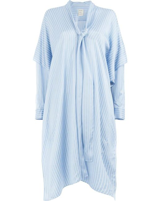Maison Rabih Kayrouz Flared Striped Dress Blue