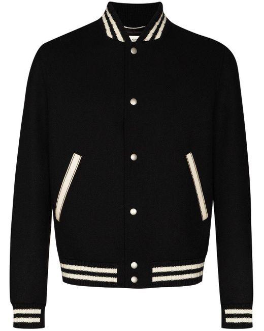 Saint Laurent Teddy College Varsity Jacket in Black für Herren