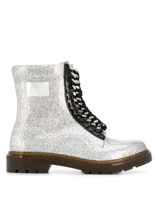 Casadei グリッターディテール ブーツ Metallic