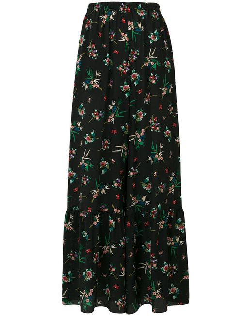 RED Valentino - Black Floral Print Palazzo Pants - Lyst