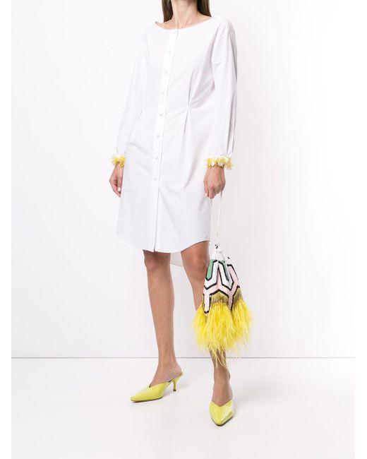 Delpozo White Embellished-cuff Shirt Dress