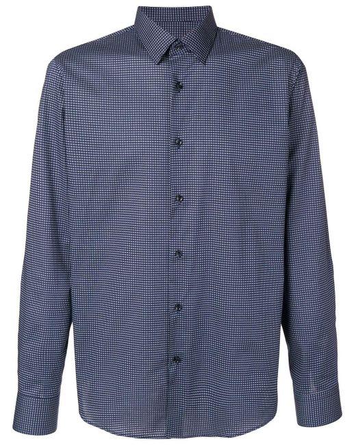 メンズ BOSS マイクロチェック シャツ Blue