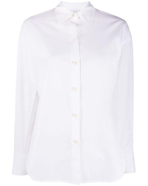 Vince White Side-slit Cotton-poplin Shirt