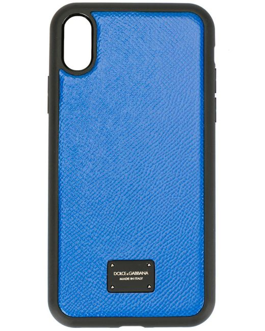 Coque d'iPhone X à plaque logo Dolce & Gabbana pour homme en coloris Blue