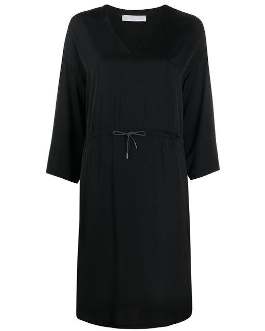 Fabiana Filippi Vestido midi con cintura con cordón de mujer de color negro