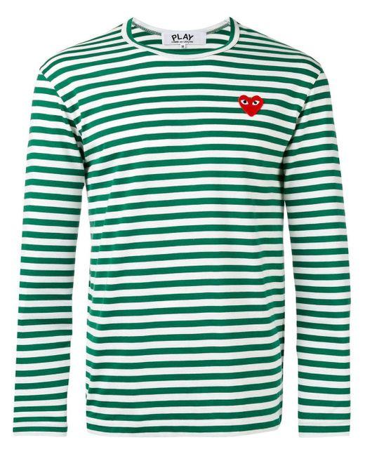 Camiseta manga larga a rayas con detalle de corazón COMME DES GARÇONS PLAY de hombre de color Green