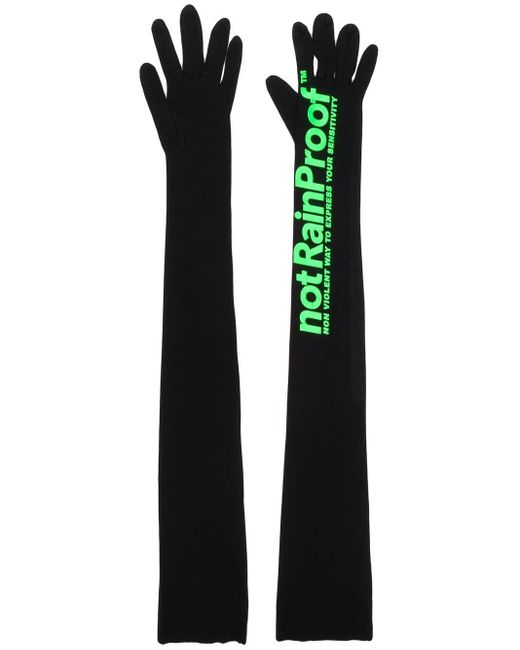 Styland Black Printed Long Gloves