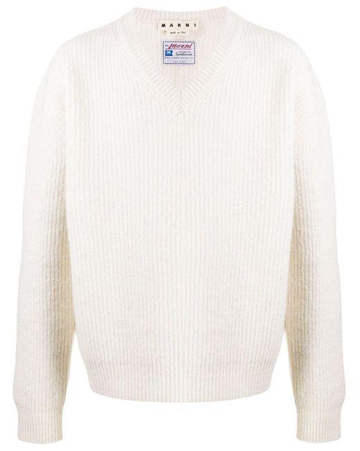 メンズ Marni リブニット Vネックセーター Multicolor