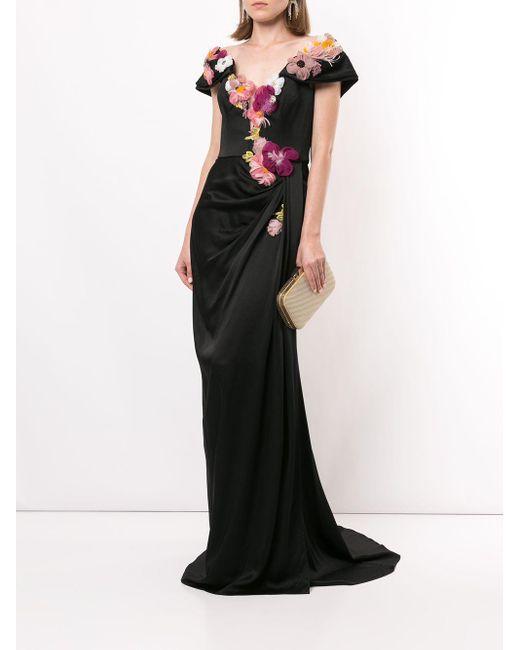 Marchesa フローラル イブニングドレス Black
