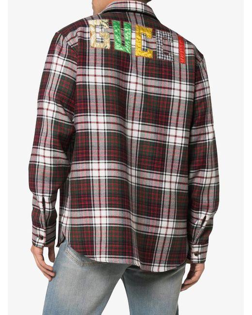 3b7da78989d ... Gucci - Multicolor Check Flannel Shirt for Men - Lyst ...