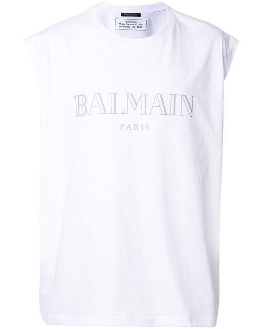 Balmain - White Logo Tank Top for Men - Lyst