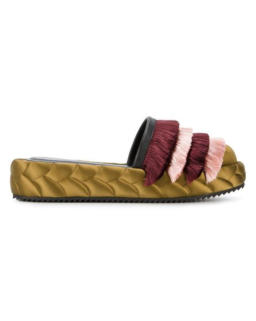 Marco De Vincenzo | Green Quilted Fringed Mules | Lyst