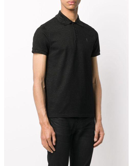 メンズ Saint Laurent ロゴエンブロイダリー ポロシャツ Black