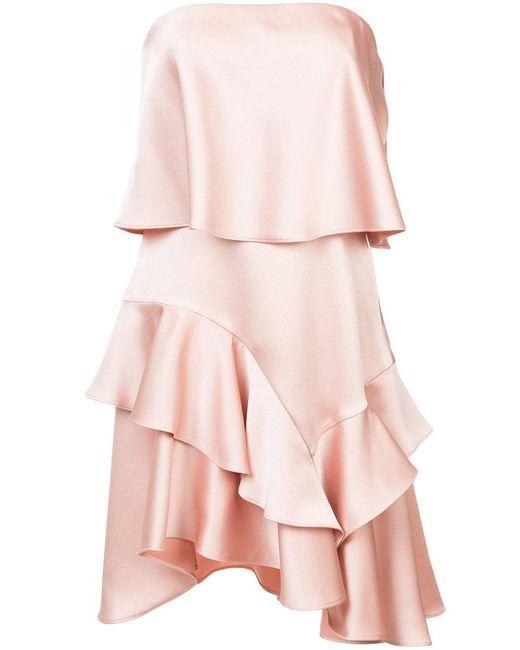 Halston Heritage | Pink Layered Frill Trim Asymmetric Hem Dress | Lyst