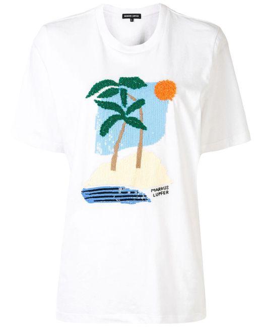 Markus Lupfer スパンコールロゴ Tシャツ White