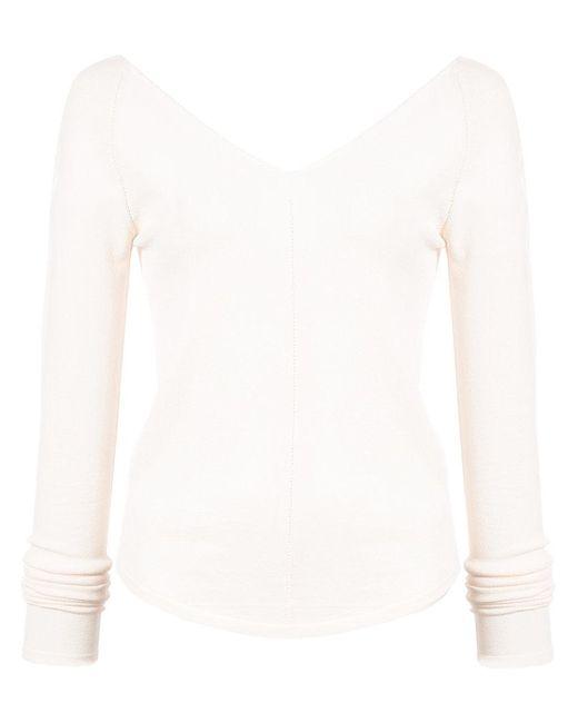 Lemaire - White V-neck Shirt - Lyst