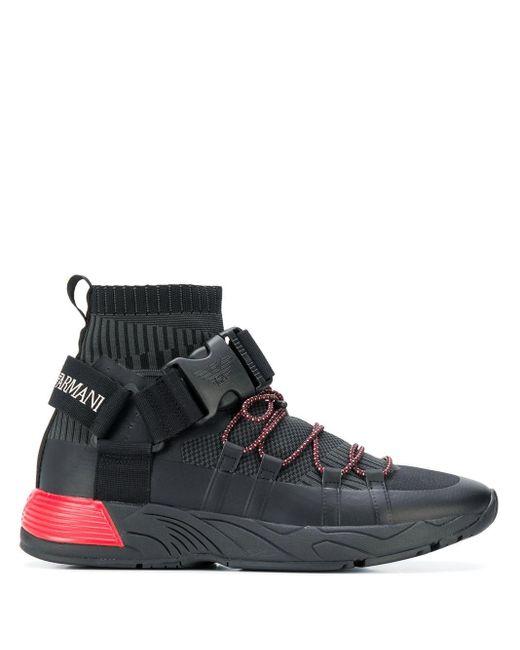 Baskets à détail de boucle de sécurité et logo Emporio Armani pour homme en coloris Black