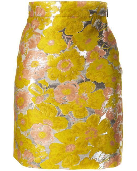 MSGM フローラル ミニスカート Yellow