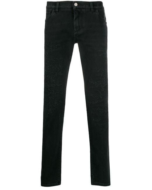 メンズ Dolce & Gabbana ダメージ スリムジーンズ Black