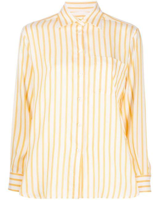 Ferragamo ストライプ シルクシャツ Natural
