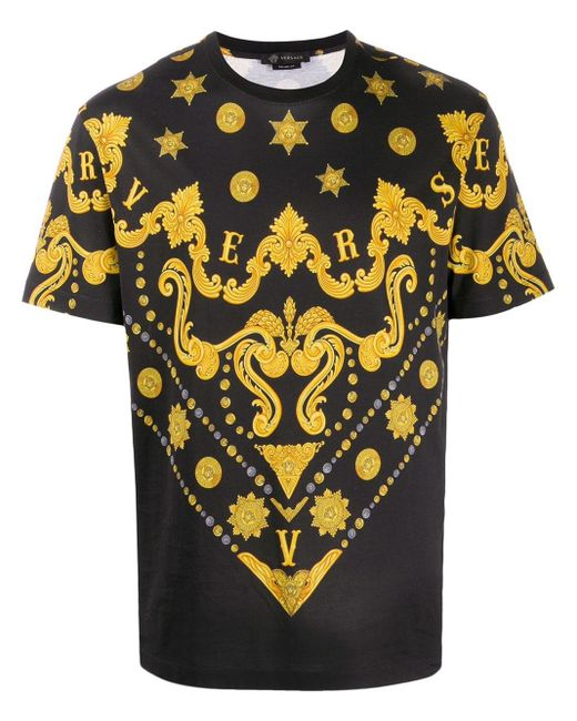 メンズ Versace メデューサ バロックプリント Tシャツ Black
