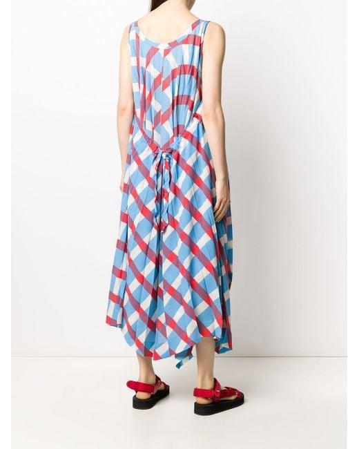 Issey Miyake チェック プリーツ ドレス Blue