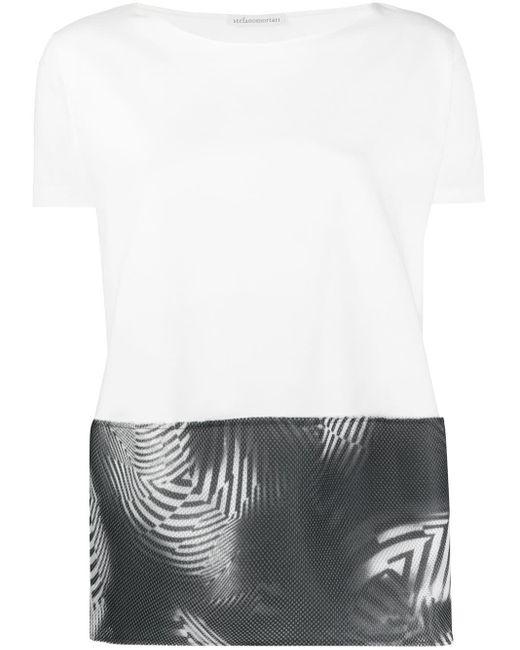 Stefano Mortari Camiseta con panel de malla de mujer de color blanco BEyTE