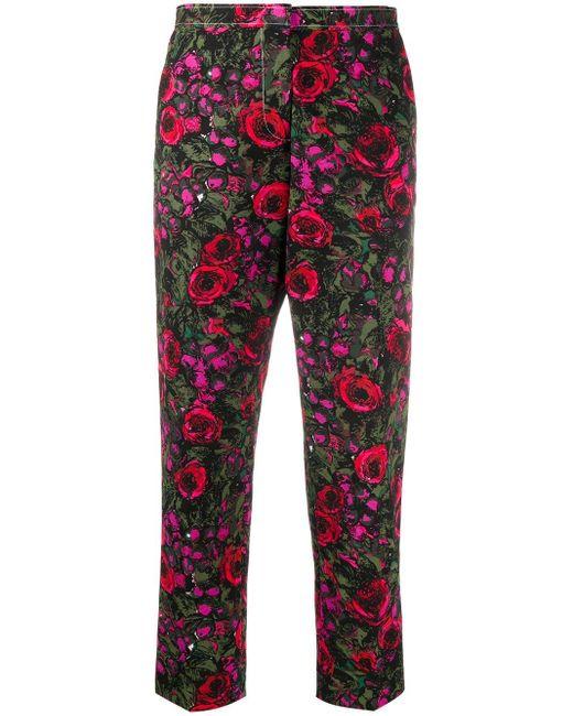 Marni Pantalones capri con motivo floral de mujer de color negro
