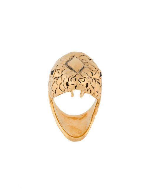 Saint Laurent - Metallic Serpent-head Ring - Lyst