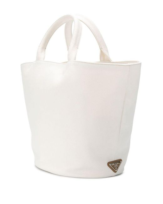 Prada White Front Logo Tote Bag