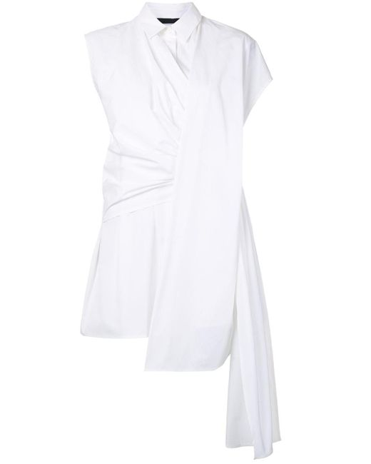 Juun.J ドレープ ロングライン シャツ White