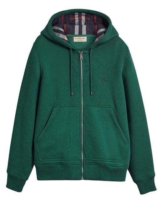 Burberry - Green Check Detail Hooded Sweatshirt for Men - Lyst