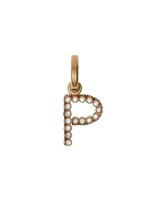 Burberry クリスタル「p」アルファベットチャーム Metallic