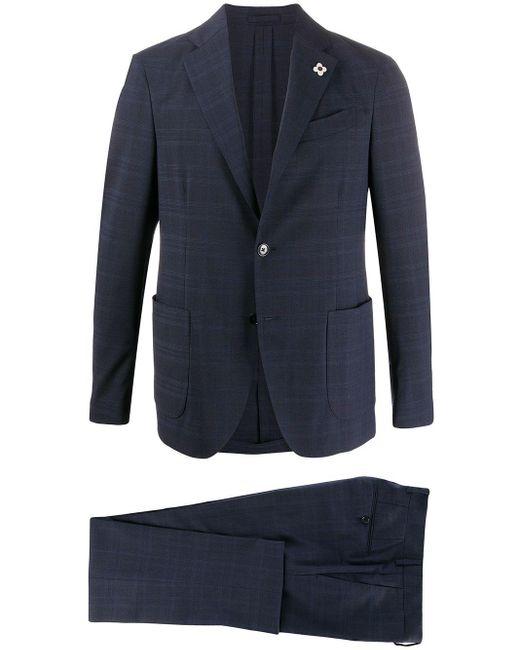メンズ Lardini チェック ツーピーススーツ Blue