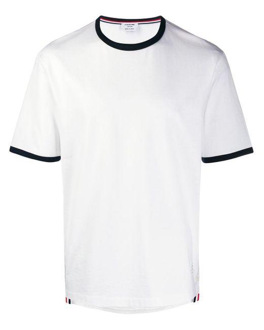 メンズ Thom Browne コントラストトリム Tシャツ White