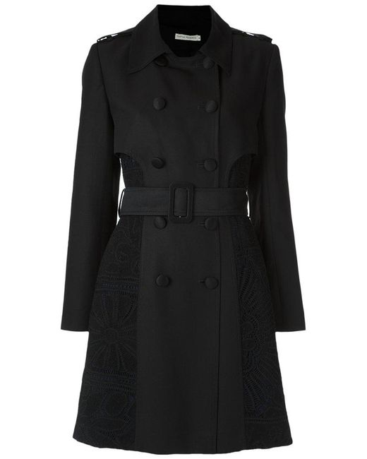 Martha Medeiros - Black Lace Inserts Trench Coat - Lyst