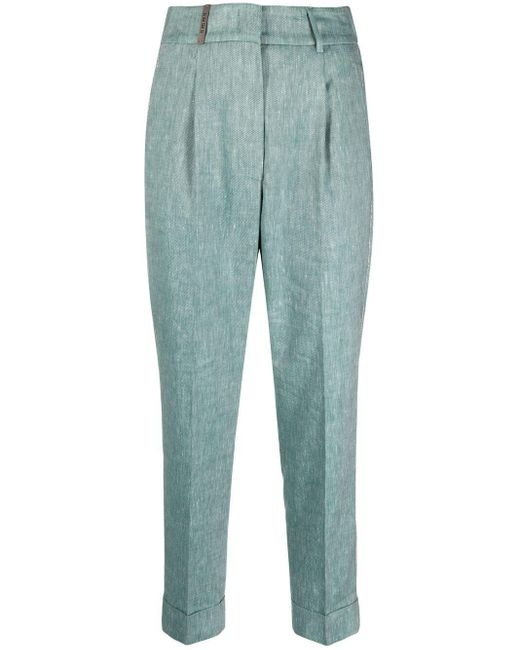 Peserico Green Pressed-crease Tailored Trousers