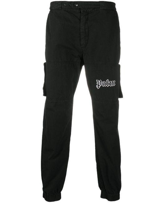 Palm Angels Gerade Hose mit Logo-Print in Black für Herren
