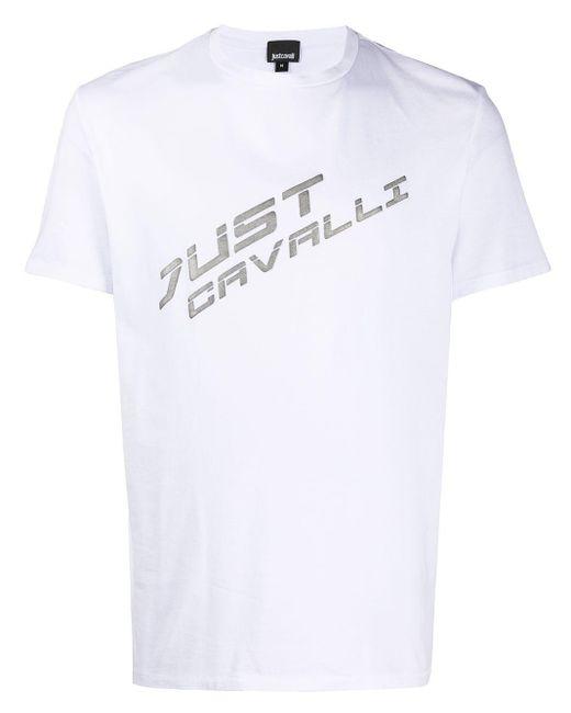 メンズ Just Cavalli メタリックロゴ Tシャツ White