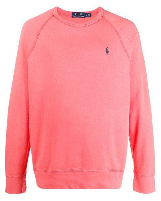 メンズ Polo Ralph Lauren コントラスト ロゴ セーター Pink