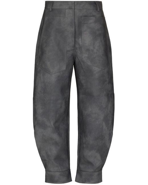 Tibi Gray Tie-dye Tapered-leg Cropped Trousers