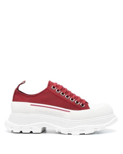 Alexander McQueen Red Tread Slick Canvas Sneakers