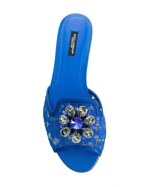 Dolce & Gabbana Blue Bianca Crystal-embellished Lace Sandals