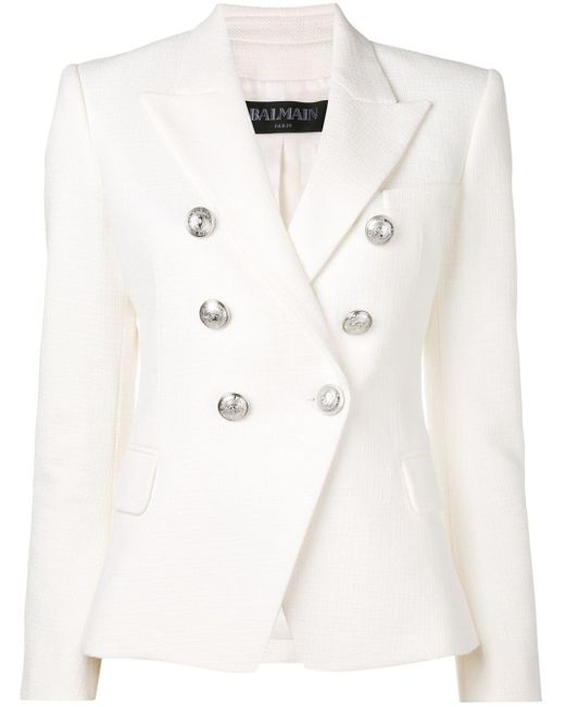 Balmain White Button Embellished Blazer