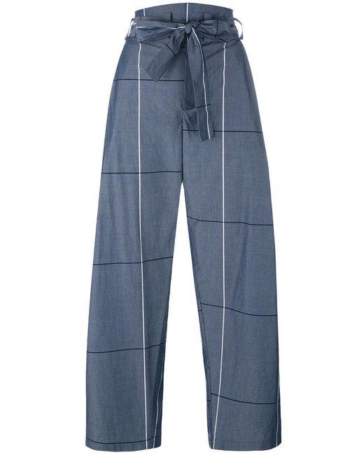 Erika Cavallini Semi Couture | Gray Plaid Wide-legged Cropped Trousers | Lyst