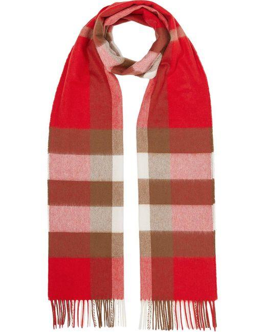 Burberry カシミア チェック スカーフ Red