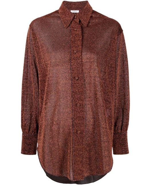 Oseree Brown Sheer-Hemd